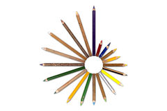 Circle of old crayons, tip outside Royalty Free Stock Photos