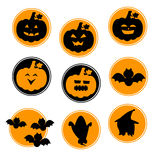Circle Orange Black Halloween symbols. Cute with pumpkins, bats , skulls , witches Royalty Free Stock Image