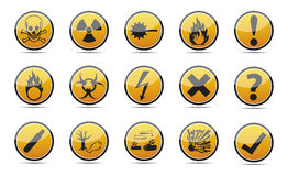 Circle orange Danger sign. Isolated  orange Circle Danger sign collection with black border, reflection and shadow on white background Royalty Free Stock Photography