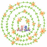 Circle orange flower love bird decor. Illustration design set circle plant orange flower love bird decor white color background Stock Images