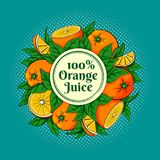Circle of oranges with a round label. Vector illustration of a circle of fresh ripe oranges and green leaves with a round label Stock Photo
