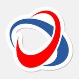 Circle orbit abstract sticker. Vector logo Stock Image