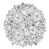 Circle orient floral black and white stock illustration
