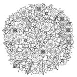 Circle orient floral black and white. Ornament could be use for coloring book in zentangle style stock illustration