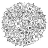 Circle orient floral black and white. Ornament could be use for coloring book in zentangle style vector illustration