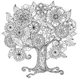 Circle orient floral black and white royalty free illustration