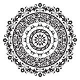 Circle ornament. Oriental ornament in black and white circular vector illustration