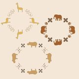 Circle ornament with animals. Circle ornament with elephant, giraffe and hippopotamus Royalty Free Stock Photos