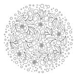 Circle ornament with artistically cherries in vector. Royalty Free Stock Image