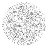 Circle ornament with artistically cherries in vector. Stock Photography