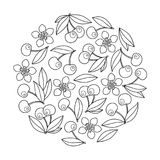 Circle ornament with artistically cherries in vector. Stock Image