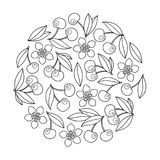 Circle ornament with artistically cherries in vector. Royalty Free Stock Photo
