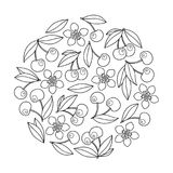 Circle ornament with artistically cherries in vector. Royalty Free Stock Images