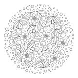 Circle ornament with artistically cherries in vector. Stock Images