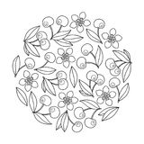 Circle ornament with artistically cherries in vector. Royalty Free Stock Photography
