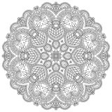 Circle ornament, black and white ornamental round. Lace, vector illustration Royalty Free Stock Photo