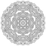 Circle ornament, black and white ornamental round. Lace, vector illustration Royalty Free Stock Images