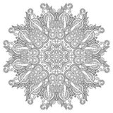 Circle ornament, black and white ornamental round. Lace, vector illustration Stock Photos