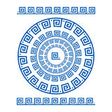 Circle ornament meander. Round frame, rosette of ancient elements. Greek national antique round pattern, . Rectangular pulse. Ancient seamless meandros border Royalty Free Stock Photography