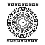 Circle ornament meander. Round frame, rosette of ancient elements. Greek national antique round pattern, vector. Rectangular pulse Royalty Free Stock Images