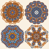 Circle ornament, ornamental round lace collection Stock Photos