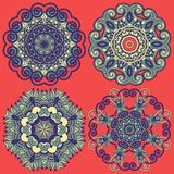 Circle ornament, ornamental round lace collection Stock Image