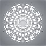 Circle ornament, round ornamental geometric pattern, christmas snowflake decoration Stock Images