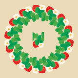 Circle ornament with Strawberries in heart shapes with flowers. And leaves isolated on gray background. Pattern endless fragment Royalty Free Stock Photography