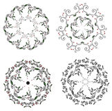 Circle ornaments floral set Stock Photography