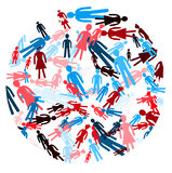 Circle pack of people in different colors Royalty Free Stock Photo