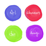 Circle paint drop set. For design - four elements blue, red, green and violet color Royalty Free Stock Photography