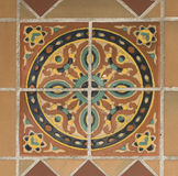 Circle Painted Tiles. Colorful spanish painted tiles with interesting designs Stock Images