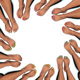 Circle of painted toenails Royalty Free Stock Image