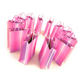 Circle of pale pink shopping bags Royalty Free Stock Photo