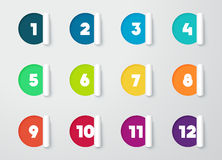 Circle Paper Cut Out Notes With Numbers For Calendar 1 to 12. Circle Paper Pealed Back Cut Out Ribbon infographic With colourful Numbers For Calendar 1 to 12 Royalty Free Stock Photos