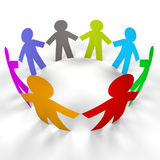 Circle paper people with clipping path Royalty Free Stock Image