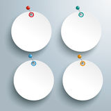 4 Circle Paper Stickers Colored Pins Stock Photography