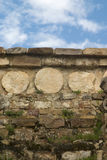Circle Pattern. Detail of an ancient ruin in Oaxaca Mexico stock photo