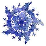 Circle pattern with bellflowers. Round kaleidoscope of flowers and floral elements. Wreath. Design card royalty free stock photo