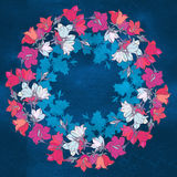 Circle pattern with bellflowers. Round kaleidoscope of flowers and floral elements. Royalty Free Stock Image