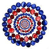 Circle pattern of red and blue transparent glass marbles isolate Royalty Free Stock Photography