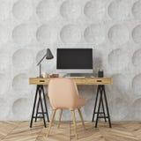 Circle pattern room, computer desk, beige Stock Images