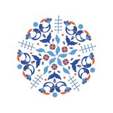 Scandinavian style blue wreath. Circle pattern with scandinavian folk elements. Stock vector illustration of finnish nordic swedish norvegian floral wreath in Royalty Free Stock Image