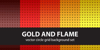 Circle pattern set Gold and Flame. Vector seamless geometric backgrounds. Maroon, red, orange, gold, yellow circles on black backdrops Stock Photos