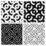Circle Patterns. In black and white. Can be used as is or seamlessly tiled for a background vector illustration