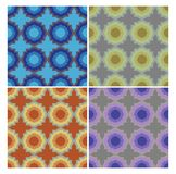 Circle patterns in retro nostalgic colors. Set of seamless patterns in 70s or 80s style. Circle patterns in retro nostalgic colors. Set of seamless patterns in Royalty Free Stock Images