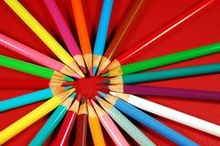 Circle of pencil crayons Royalty Free Stock Image