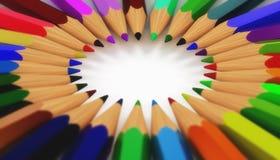 Circle of Pencils. Closeup of a circular shape of colorful pencils Royalty Free Stock Image
