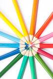 Circle of pencils. Circle made of colored pencils on white background vector illustration