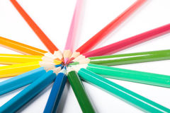 Circle of pencils. Circle made of colored pencils on white background royalty free illustration